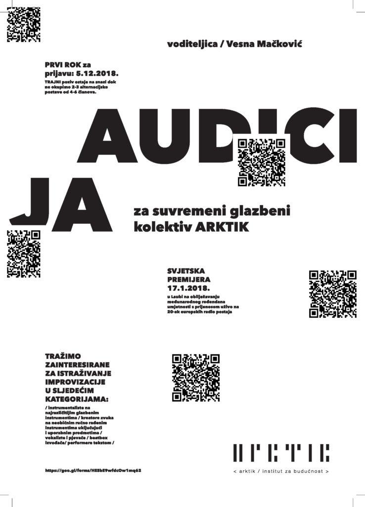 Plakat za audiciju za Glazbeni kolektiv ARKTIK
